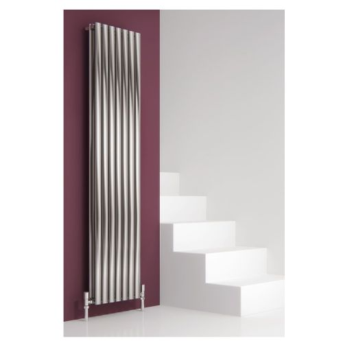 Reina Nerox Double Vertical Designer Radiator - 1800mm High x 472mm Wide - Brushed Stainless Steel